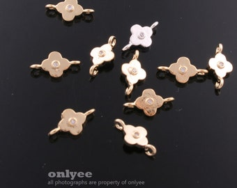 6Pcs -10mmX6mm Gold Plated over Brass Tiny Flower with Zircon Charms Pendant(K576G)