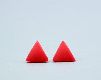 Red Triangle Earrings, Red Triangle Studs, Triangle Earrings, Red Studs, Geometric Earrings, Bright Red Earrings, Minimalist Earrings, studs
