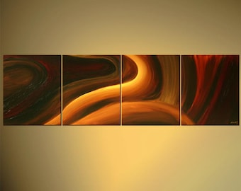 "Large Abstract Painting, Original Modern Abstract Painting Earth Tones Colors by Osnat - MADE-TO-ORDER - 64""x20"""