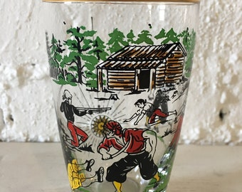 Vintage Tumbler Drinking Glass with Pirate Scene - Collectible Glassware, Pirate Collectibles, Drinking Glass
