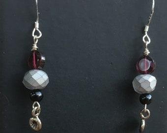 Czech glass & Garnet Earrings