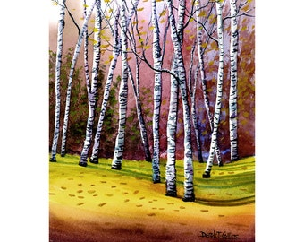 Birch Tree Landscape Painting watercolor  Print rose Trees  Giclee Reproduction