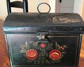 Antique Hand Painted Tole Box
