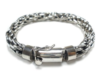 Sterling Silver Mens Bracelet Chunky Multi Link Woven design chain