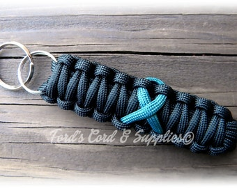 Teal Awareness Ribbon Key Fob, Paracord Keychain, Lanyard, Gift, Accessories, Ovarian Cancer, Tourette Syndrome, Myasthenia Gravis, PTSD