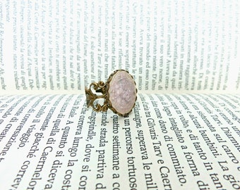 Vintage ring, Victorian style ring, Ceramic ring, Adjustable filigree ring, Violet ceramic ring, Gift for her