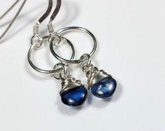 Blue Kyanite Dangle Earrings, Diamond Shape Gemstone Sterling Silver Earrings