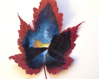 Navy Night | Leaf Painting | Leaf Art | Night Sky | Canadian Art | Canada | Travel | Night Drive | Adventure | Stars | Trees