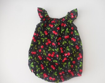 Sunsuit romper playsuit for babies and toddlers black polka dot and red cherries