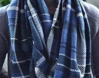 Blanket Scarf, Oversized Blue Plaid Scarf, Blue Green Tartan Blanket Scarf, Blue Plaid Winter Scarf, Womens Winter Accessory, Gifts for Her