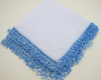 Hankie, Crochet Edge Blue and White Vintage Handkerchief, White Hankie, Blue Crochet