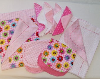 Baby Girl  Pink Lady Bug- Baby Gift Set - Flannel - Emboidered - 2 Blankets - 4 Wash Cloths - 2 Burp Cloths - Baby Shower Gift