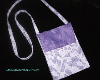 Purple BATIK BAG with glass beads Small Purse Tarot Cards Cell Phone Glasses cloth hipster handbag OOAK gift Lavender Floral Print Turquoise
