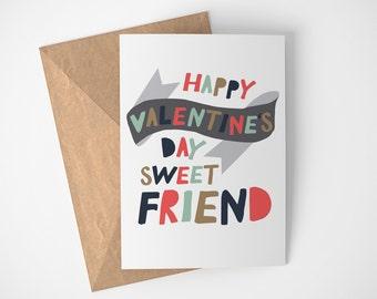 Friend Valentine, Valentines Card, Happy Valentines Day Card, Valentines Day Card, Valentines Day Gift, Card For Friend, Best Friend Love