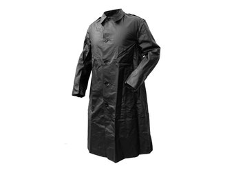 1960s Genuine Swedish Army Black Raincoat Rubber Coat Vintage Retro Unique PVC Waterproof Rubberized Rain Coat Showerproof NOS