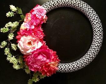 Peony Wreath, Peony Spring Wreath, Modern Spring Wreath, Summer Wreath, Anytime Wreath