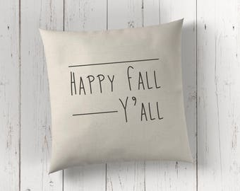 Happy fall pillow cover - happy fall y'all - fall cushion cover - throw pillow cover - accent pillow - fall decor - scandinavian pillow -