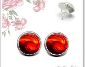 1 Pair Stud Earrings 12 mm abstract reddish brown OSH-012-241