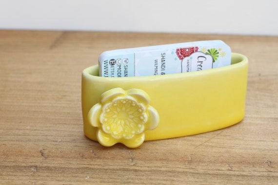 marigold business card holder, porcelain