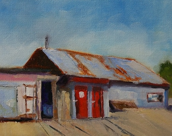 Fish House - 6x8 - Original Oil on Panel