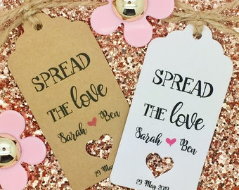 Spread The Love, Jam Favour Wedding Gift Tag, Personalized