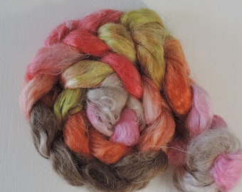 Kid Mohair silk,Crazy Witch, 95gr top, handpainted fiber for spinning