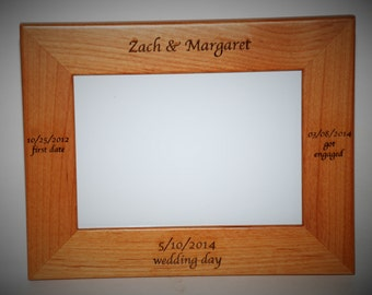 4x6 Laser Engraved Wooden Picture Frame, Custom picture frame, personalized picture frame 4x6