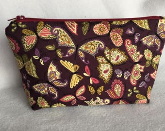 Zippered butterfly bag, small pouch, organizer, project bag, hair accessories,
