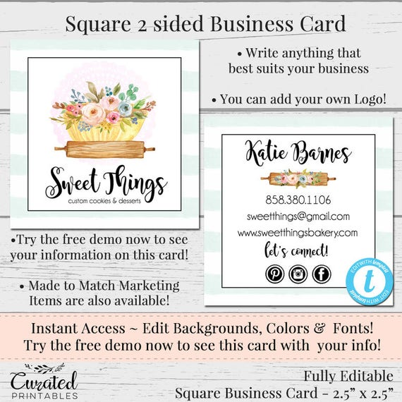 Baking business card editable business card square business reheart Images