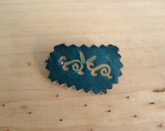 small barrette has hair rectangle fancy blue leather for fine hair