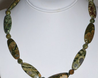 Rhyolite Lozenge Bead Necklace with Sterling Accents by MixedMediaDesigns1