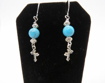 Silver and Turquoise Christian Cross Earrings