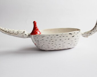 Peter the Wolf with Little Red Riding Hood - ceramic bowl, planter with gold dots
