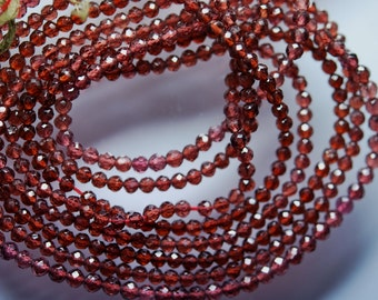 13.5 Inches Strand,Natural Mozambique Garnet Faceted Round Ball Beads 2mm