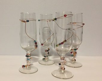 Unique Bead Embellished Champagne Glasses
