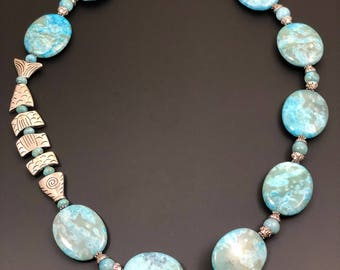 Pewter Fish and Turquoise Stone Necklace