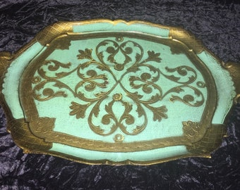 Vintage Florentine French Country Tray Green with Gold Gilding Trim and Handles Made in Italy