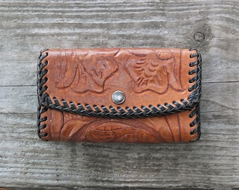 Vintage Tooled Leather Key Holder / 1970s Tooled Leather Wallet / Tooled Leather Card Holder