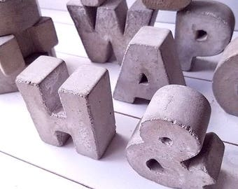 "3"" Concrete Letters FULL ALPHABET Free Standing Concrete Words Alphabet Letters Home Decor Letters Cement Letters Rustic Industrial Decor"