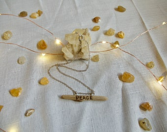 Peace Driftwood Necklace