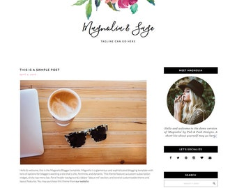 "Responsive Blogger Template ""Magnolia"" - Feminine Blogger Template"