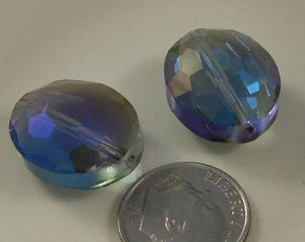 Large Faceted Oval Crystal Beads 20x16mm Blue Purple AB (Qty 2) PH20x16OVL-BlPrpAB