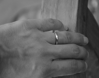 Hammered Sterling Silver Stacking Ring - Simple Wedding Band or Stack Ring -Made in your size