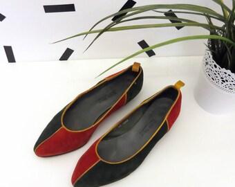 80's Vintage Color Block Shoes Size 37