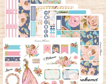 Blooming Weekly Kit or Al a Carte (matte planner sticker, fits perfect in Erin Condren Life Planner Vertical)