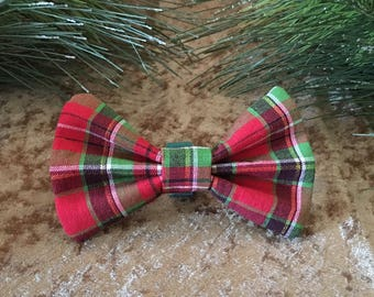 Plaid Christmas Dog Bowtie, Red and Green Dog Bowtie, Holiday Pet Neckwear