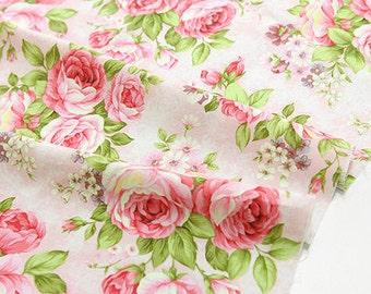 "Cotton Big Roses (43 x 36"") Rose Garden - Pink - per Yard 21113"