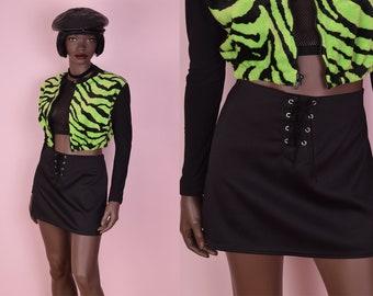 90s Black Lace Up Mini Skirt/ Small/ 1990s