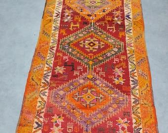 Rug, Vintage Rug, Area rug,Rugs, Anatolian Rug, Turkish Rug, Kurdish Rug, Oushak Rug, Handwoven Rug, Nomadic Rug, Decoration Rug (263X88 CM)