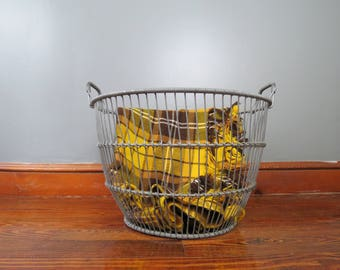 Vintage Large Metal Basket // Maine Clamming Basket Coastal Nautical Home Decor Industrial Rustic Style Blanket Linens Storage Wire Handles